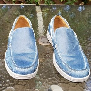 Cole Haan distressed blue boat shoes